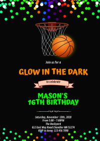 Glow in the dark basketball birthday A6 template