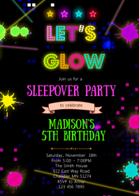 Glow in the dark birthday party invitation A6 template