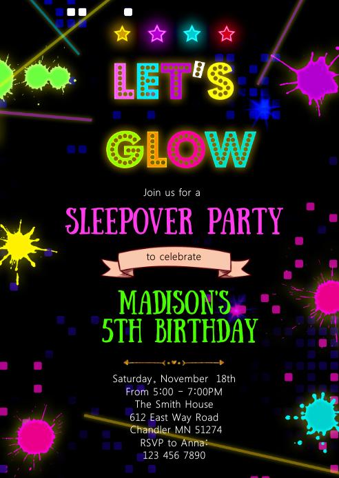 Glow in the dark birthday party invitation
