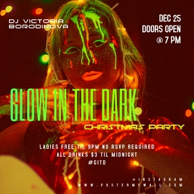 Glow in the Dark Christmas Party Banner