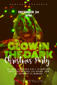 Glow In the Dark Christmas Party Poster