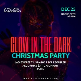 Glow in the Dark Christmas Video Party Banner Instagram Post template
