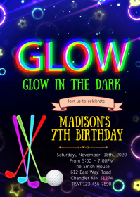 Glow in the dark golf birthday invitation
