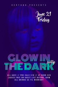 Glow In the Dark Party/Event Flyer/Poster template