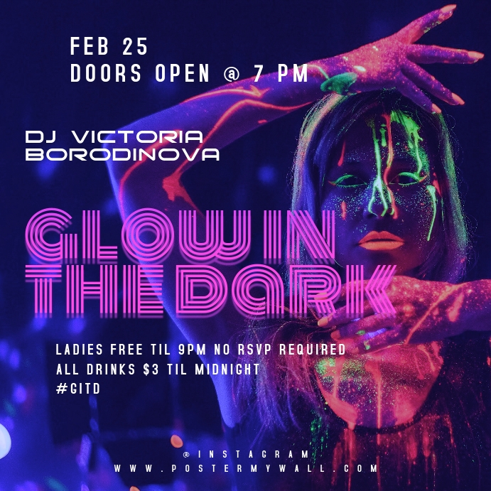 Glow In The Dark Party Instagram Banner Template Postermywall