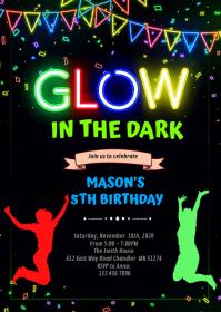 Glow jump birthday Invitation A6 template