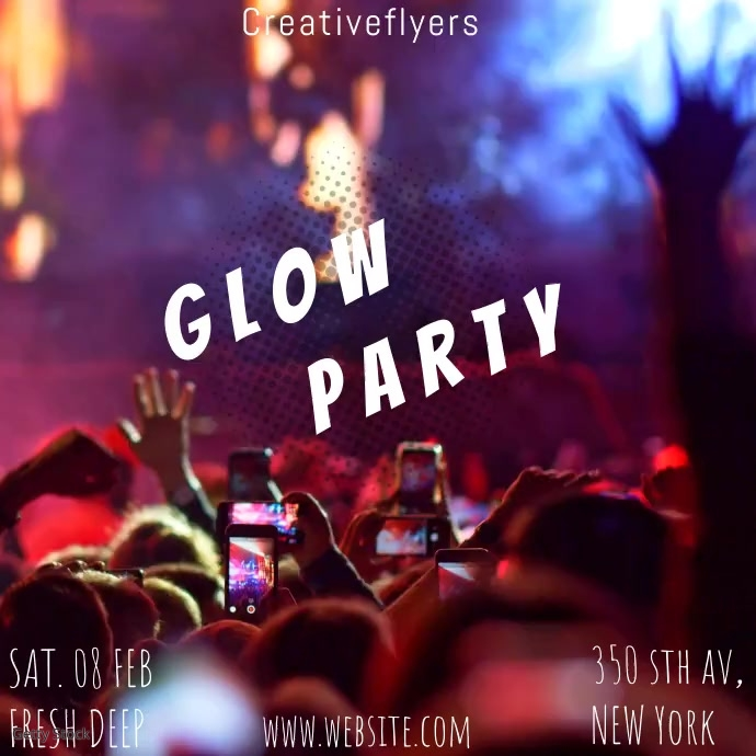 Glow party Square (1:1) template