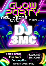 Glow Party A3 template