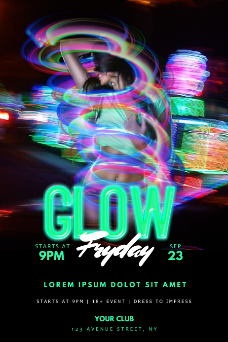 glow party flyer template postermywall