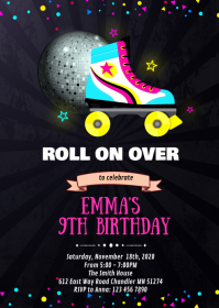 Glow roller skate birthday invitation A6 template