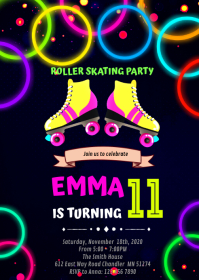 Glow roller skating Birthday Invitation A6 template