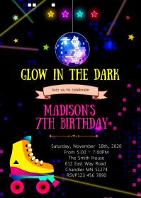Glow Roller skating birthday invitation