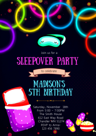 Glow sleepover birthday party invitation