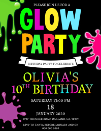 Glow Slime Birthday Party Invitation Template