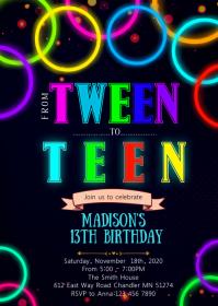 Glow teen birthday party invitation