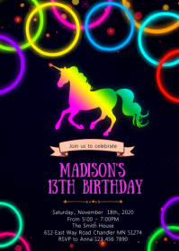 Glow unicorn birthday party invitation