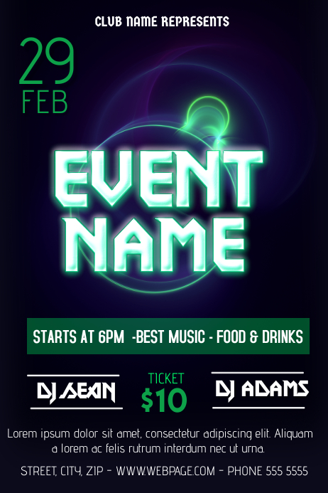 glowing neon party flyer template