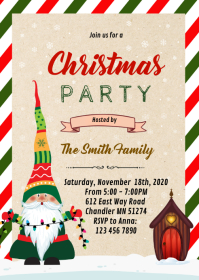 Gnome christmas party invitation