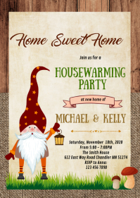 Gnome Home sweet home party theme invitation