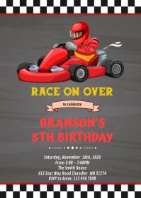 Go kart Birthday Invitation A6 template