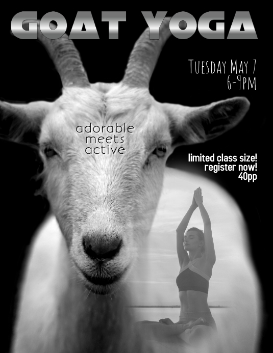 goat yoga flyer template