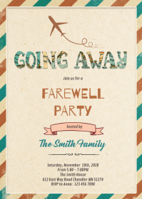 Going away party invitation A6 template