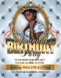 Gold & White Elegant Birthday Party Flyer template