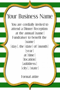 Gold & Green Dinner Dance Reception Fundraiser Event Formal