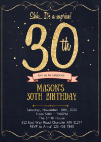 Gold 30th birthday party invitation