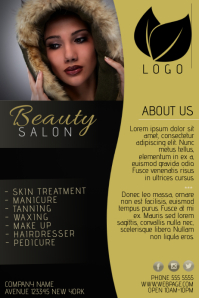 gold and black beauty salon flyer template