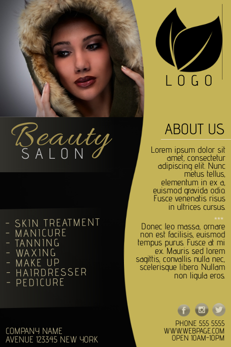 Gold And Black Beauty Salon Flyer Template  Postermywall