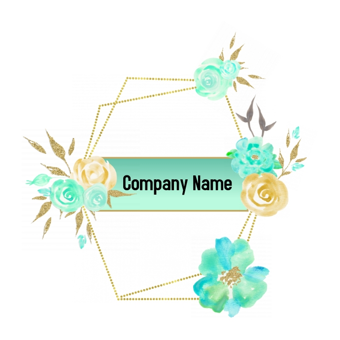 Gold and Green Flower Logo template