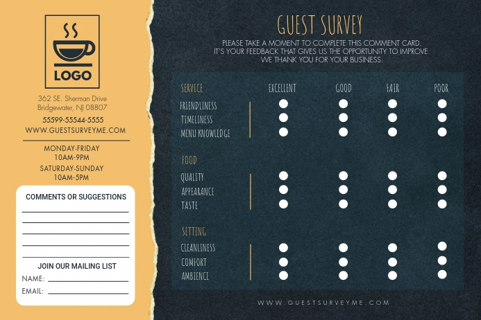 Gold and Green Guest Survey Comment Card Tatak template