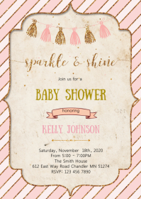 Gold and pink baby shower invitation A6 template