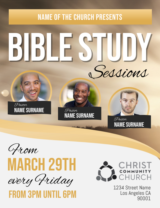 Gold and White Bible Study Sessions Church Flyer