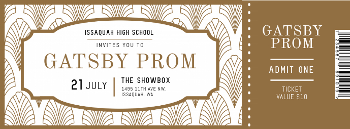 Gold and White Prom Night Ticket