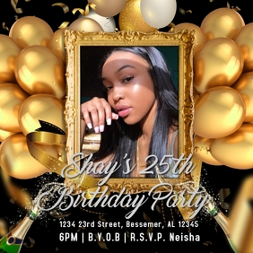 Gold Birthday Party Flyer Instagram Post template
