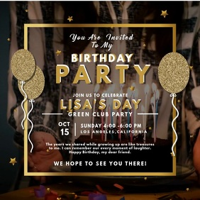 Gold Birthday Party Invitation Video