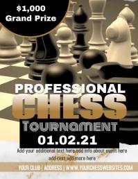 Gold Black Chess Tournament Video Flyer template