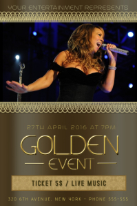 gold black luxury concert event band flyer template
