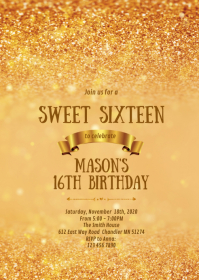 Gold bokeh 16th birthday party invitation A6 template