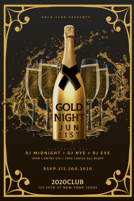 GOLD CHAMPAGNE NIGHT Flyer Template Banner 4' × 6'
