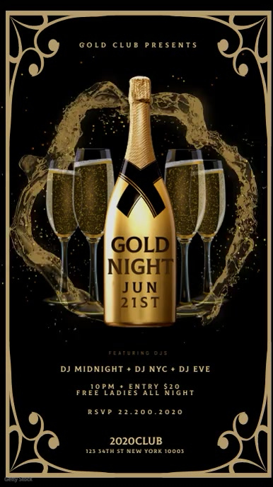 GOLD CHAMPAGNE NIGHT Instagram sTORY