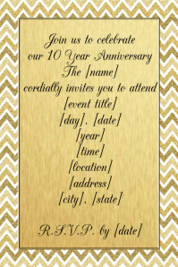 Gold chevron Glitter anniversary party invitation reception
