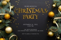 Gold Christmas Party Invitation Rótulo template