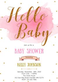 Gold confetti baby shower invitation