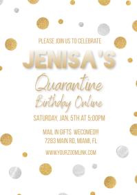 Gold Confetti Quarantine Online Invite A4 template