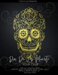 Gold Dia De Los Muerto Sugar Skull Flyer template