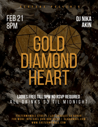 Gold Diamond Gold Grunge Party Flyer Template