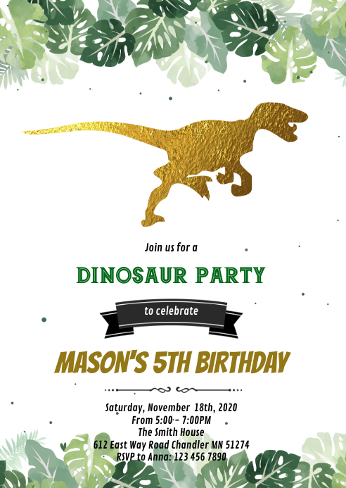 Gold dinosaur birthday party invitation